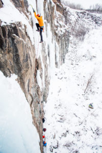 ice climbing at Quarry Park