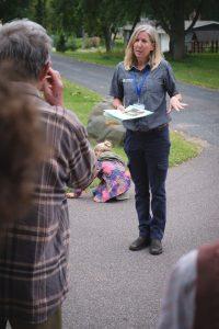 Landbridge Ecological representative talking with the crowd
