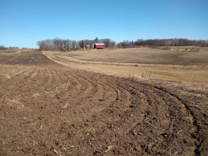 Plowed field which will be restored to native prairie and oak savanna