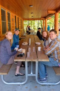 Land Trust Staff and friends at a picnic table
